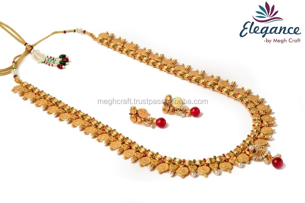 South Indian Gold Plated Necklace Set Ginni Temple Jewellery