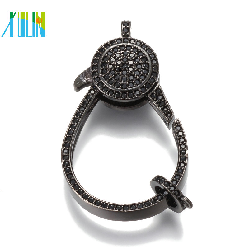 XULIN Wholesale CZ Clear Micro Pave Lobster Clasp For Bracelet DIY Gunmetal Connector with Two Side Rhinestone