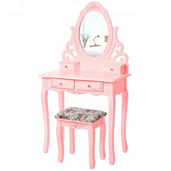 2018 Modern French 4 Drawers Girls Vanity Dressing Table With Mirror