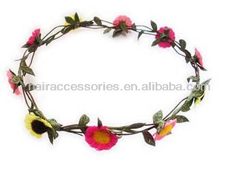 Woodland colorful flower floral crown hair wreath - Wedding bridal hair accessories
