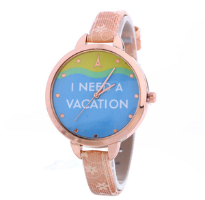 Trade Assurance new rose gold small leather strap colorful watch for women