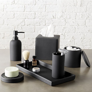 Luxury Matte Black Home Bathroom Decorations Resin