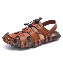 Men's Leather Sandals Flats Comfortable Casual Summer Walking Driving Shoes Fashion Wild Loafers Moccasins Outdoor Sandals