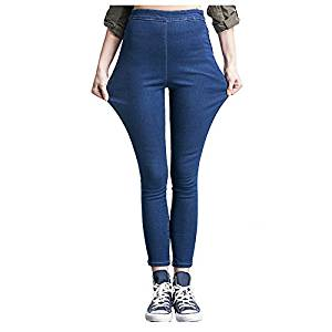 Women Jeans - SODIAL(R)Woman's Fashion Leggings Summer Autumn High Waist Elastic plus Size women Skinny jeans denim pants(dark blue,XL/US-6)