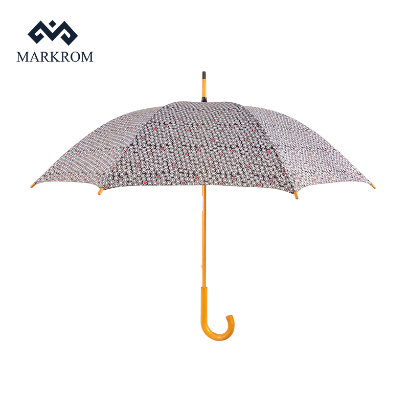 New Products 2018 Hot Sales Wooden Handle 190t Pongee Straight Umbrella