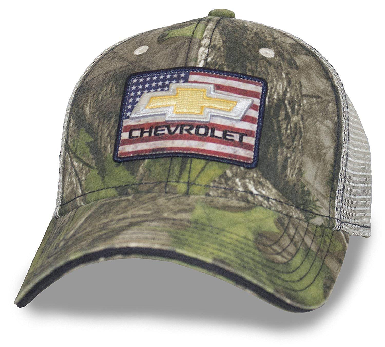 de919390e3892 Get Quotations · Camo Hat American Flag Gold Bowtie Chevrolet Patch Mesh  Back Velcro Closure