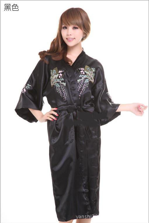 b5efab6f71f Get Quotations · Black Women s Embroider sleepwear Bath robe gown Lingerie  Sleepwear Kimono Satin Robe Bathrobe size S M L XL