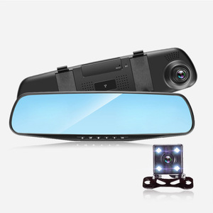Hot Selling 4.3 Inch Rearview Mirror 24H Smart Car DVR Dual Lens Vehicle Traveling Data Video Camera Recorder Dash DVR Car