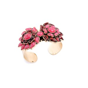 Fancy Spring Style Chunky Accessories Creative 18K Gold Unique Flower Resin Made Bangle