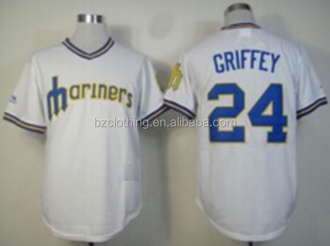 Ken Griffey Jr #24 Seattle Mariners White Vintage Throwbacks Baseball Jersey