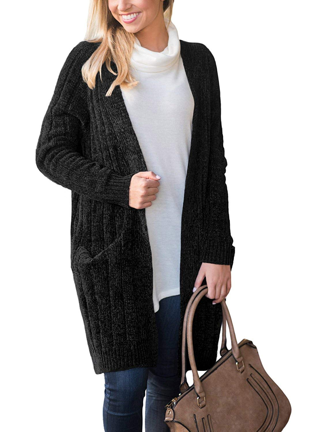 Get Quotations · Eytino Women Open Front Long Sleeve Knit Cardigan Chunky Sweater  Oversized Coat e8e0ddf89