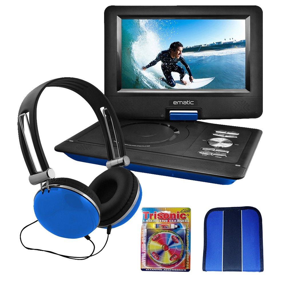 "Ematic 10"" Portable Swivel Screen DVD Player w/ Headphones & Car Mount Blue (EPD116BU)- Essentials Bundle Includes, Trisonic Lens Cleaning Kit & CD/DVD Wallet"