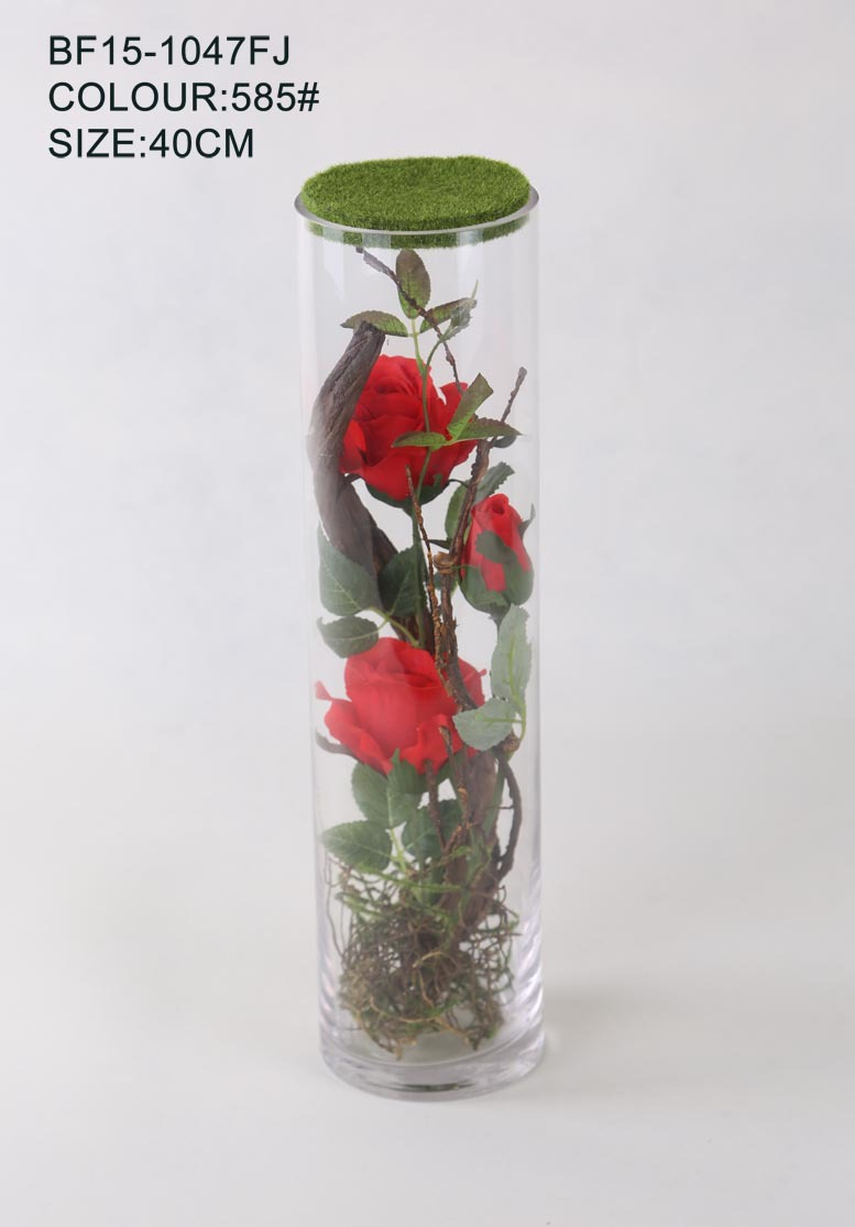 Decorative Red Rose Artificial Flower in Cylinser Glass