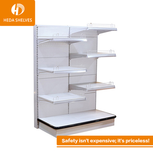 flat back panel double shelf round gondola shelf