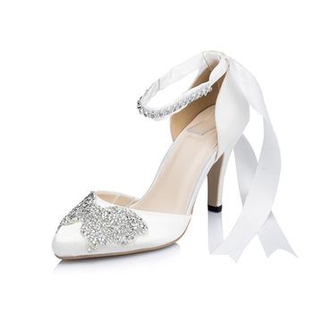 339bb94b54b Beautiful Crystal Sexy White Leather Ladies Medium Heel Wedding Shoes For  Bride