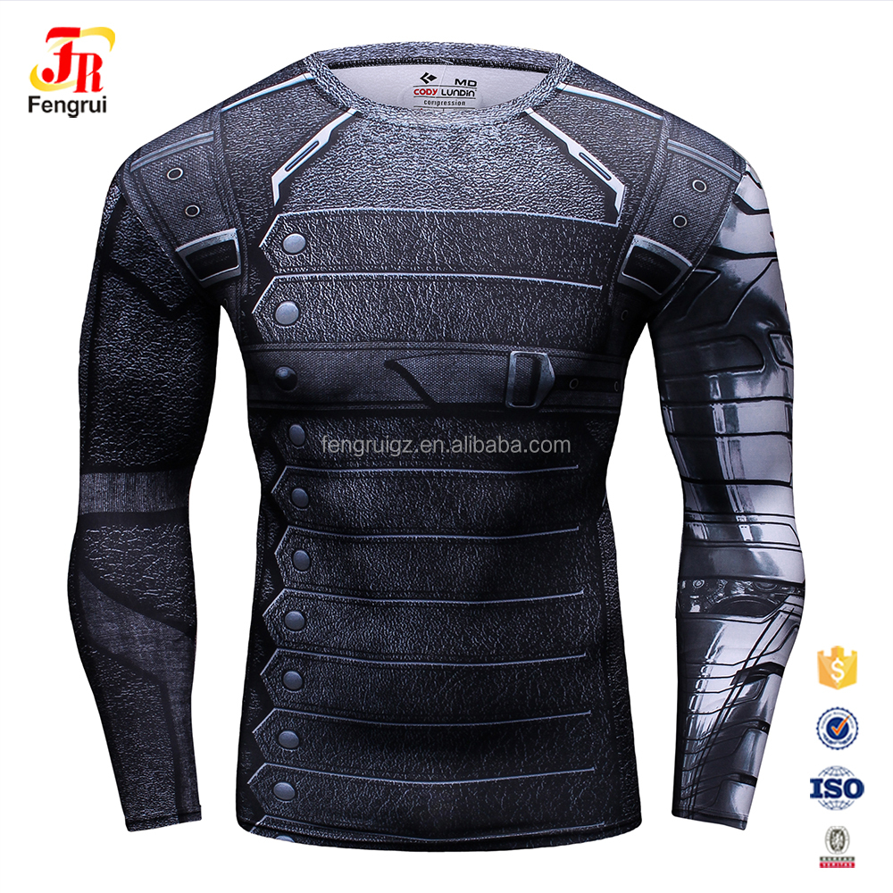 The Avengers super stretch tight clothes full sublimation printed long sleeve shirt round-neck sweater for men
