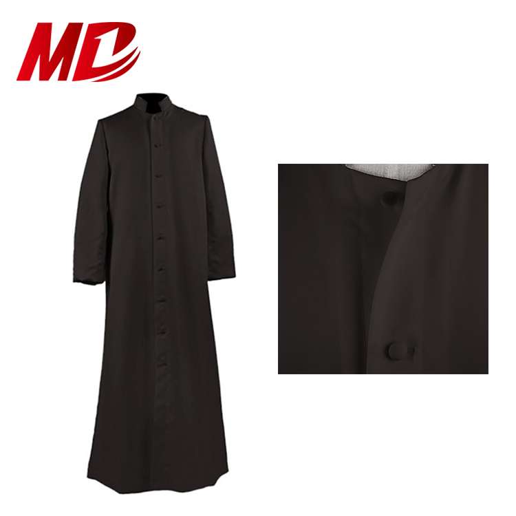 Black 100% matte polyester Single Breasted Clergy Cassock Robe of Church Uniform