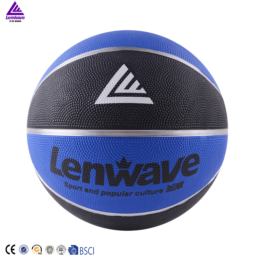 Lenwave basketball equipment custom your own logo cheap colorful rubber basketball ball