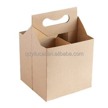 Custom plain kraft paper 4 pack cardboard corrugated for 6 pack beer carrier template