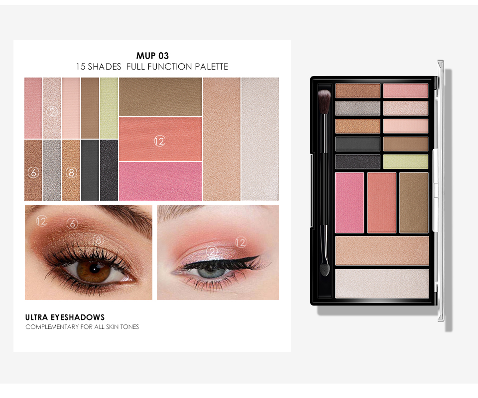 O.TWO.O Eye Shadow Blush Contour Highlighter Makeup Palette 10 Color Eyeshadow Palette