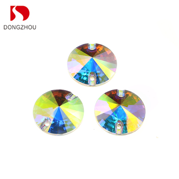Dongzhou Crystal 3041 Silver Plating  Rivoli Crystal Sew on Stones For Cloth Decoration