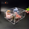 Custom stackable cube decorative acrylic storage box with lid