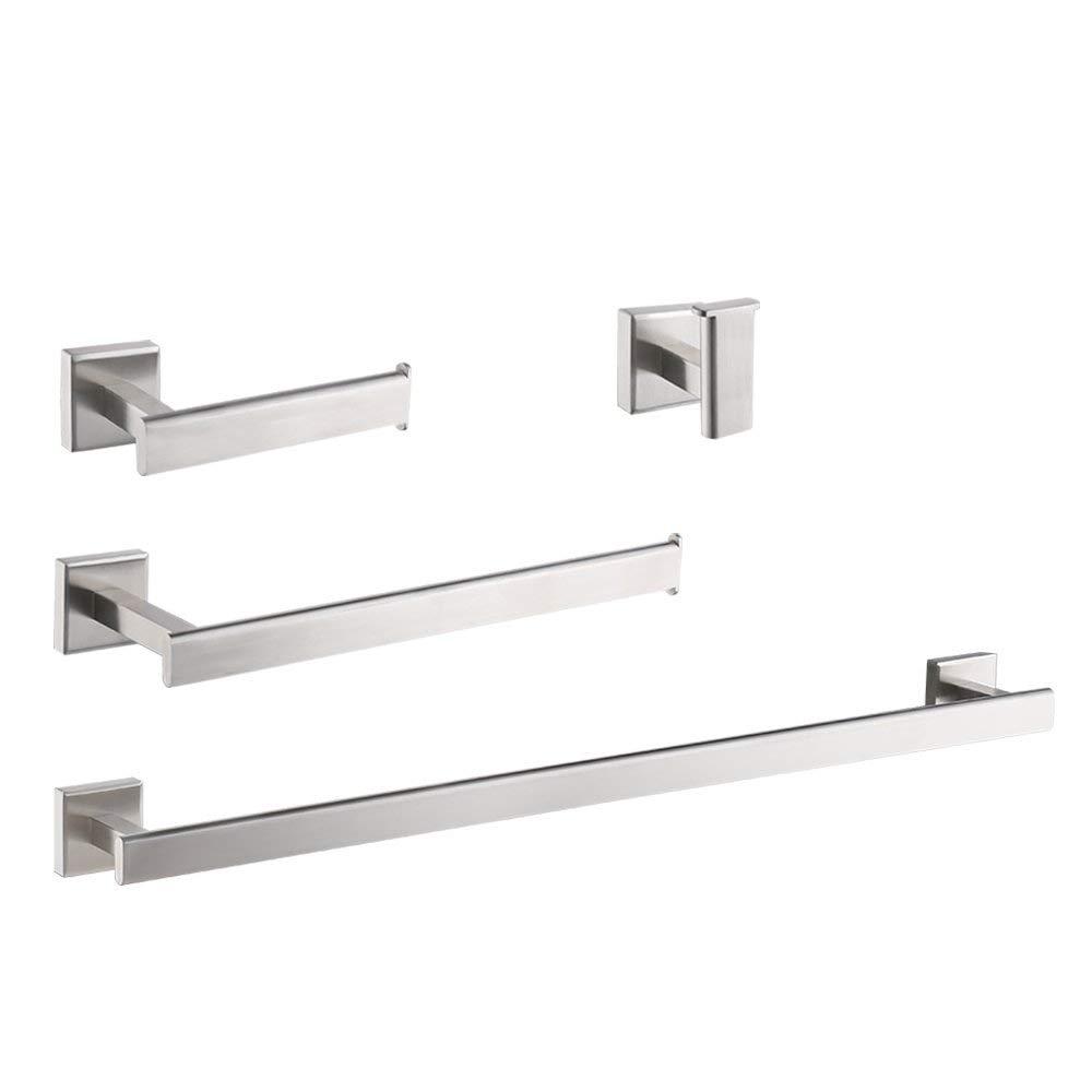 KES 4-Piece Bathroom Accessory Set RUSTPROOF Towel Bar Hook Toilet Paper Holder Towel Ring Wall Mount Brushed SUS 304 Stainless Steel, LA2242-42