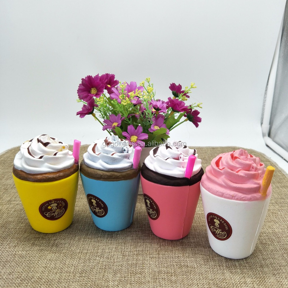 New style kawaii squishy jumbo toy factory buns ice cream milkshake coffee sippy cup colorful soft toy