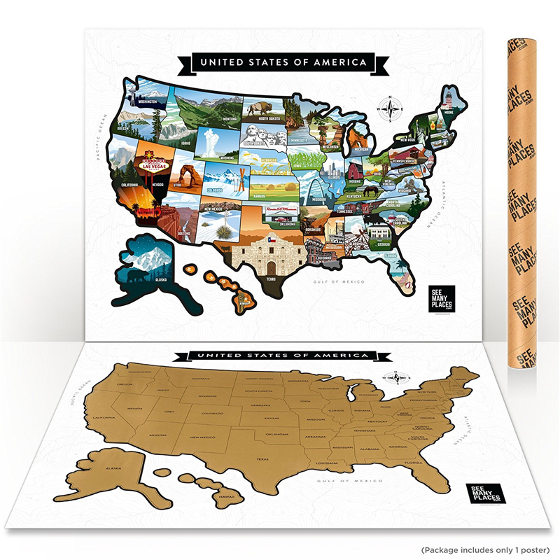 Scratch Off Us Map Poster United States Travel Road Trip Tracker ...