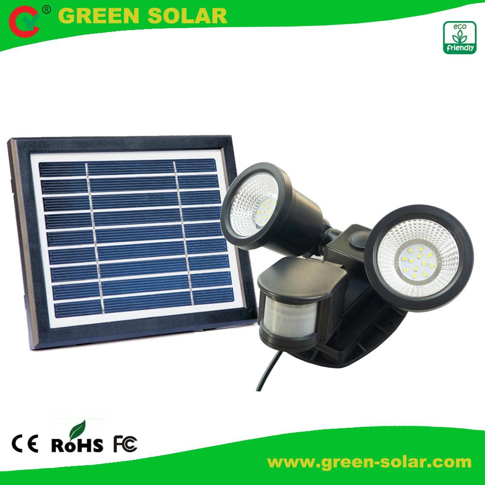 Double Lamp Head Solar Powered Motion Sensor Light Outdoor