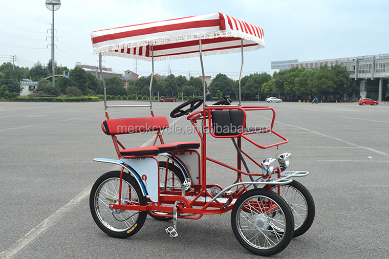 4 Wheel Adult Pedal Couple Surrey Bike Tandem Bicycle For