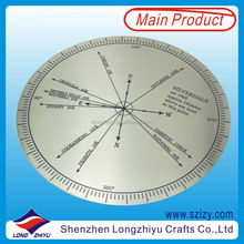 Acid etching and paint filled brushed stainless steel plate,300mm compass metal large nameplate logo badge label emblem producer