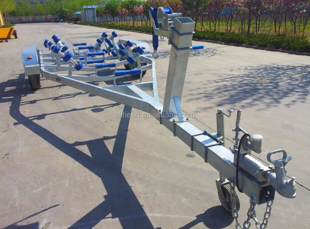 Heavy dual axles roller boat trailer made of hot galvanized for sale