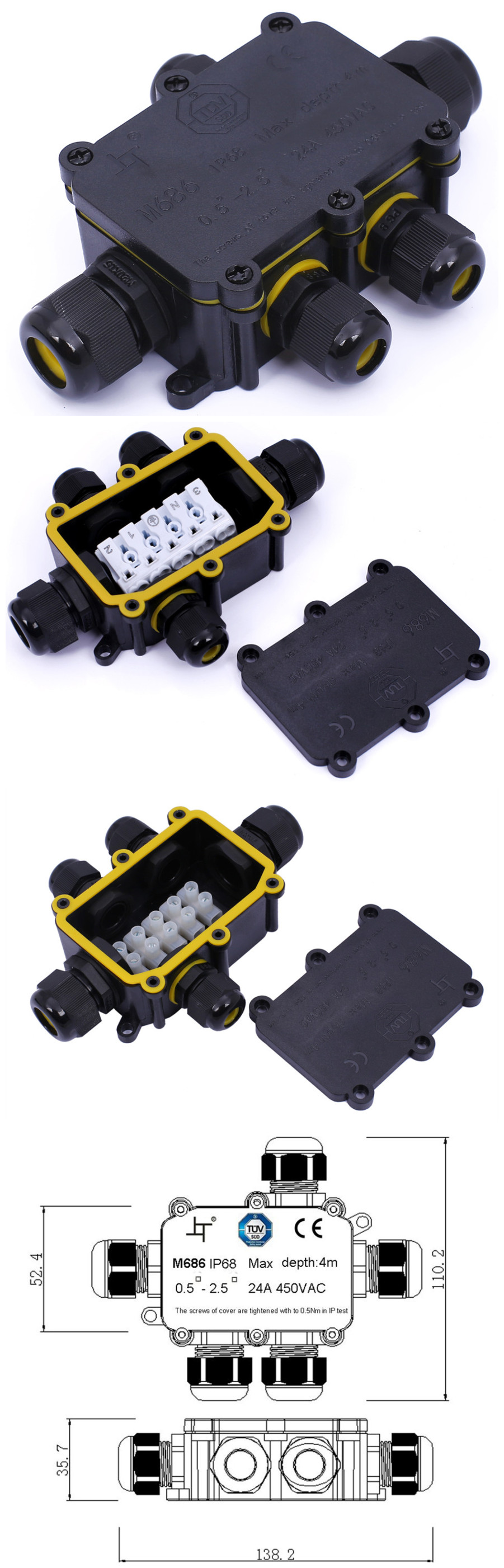 TUV 2 way IP68 outdoor electronic plastic terminal connecting waterproof cable junction box