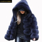 Autumn and winter faux fur coat new women's hooded faux fur coat