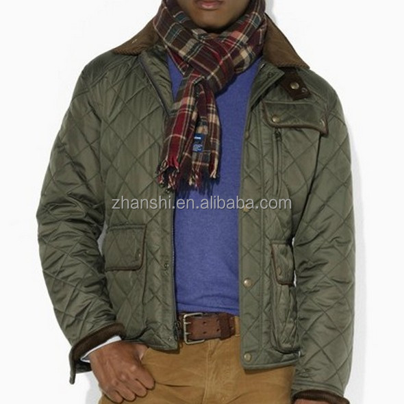 Winter Fashion European/America Style Military Down Diamond Men's Corduroy-Collar Quilted Jacket