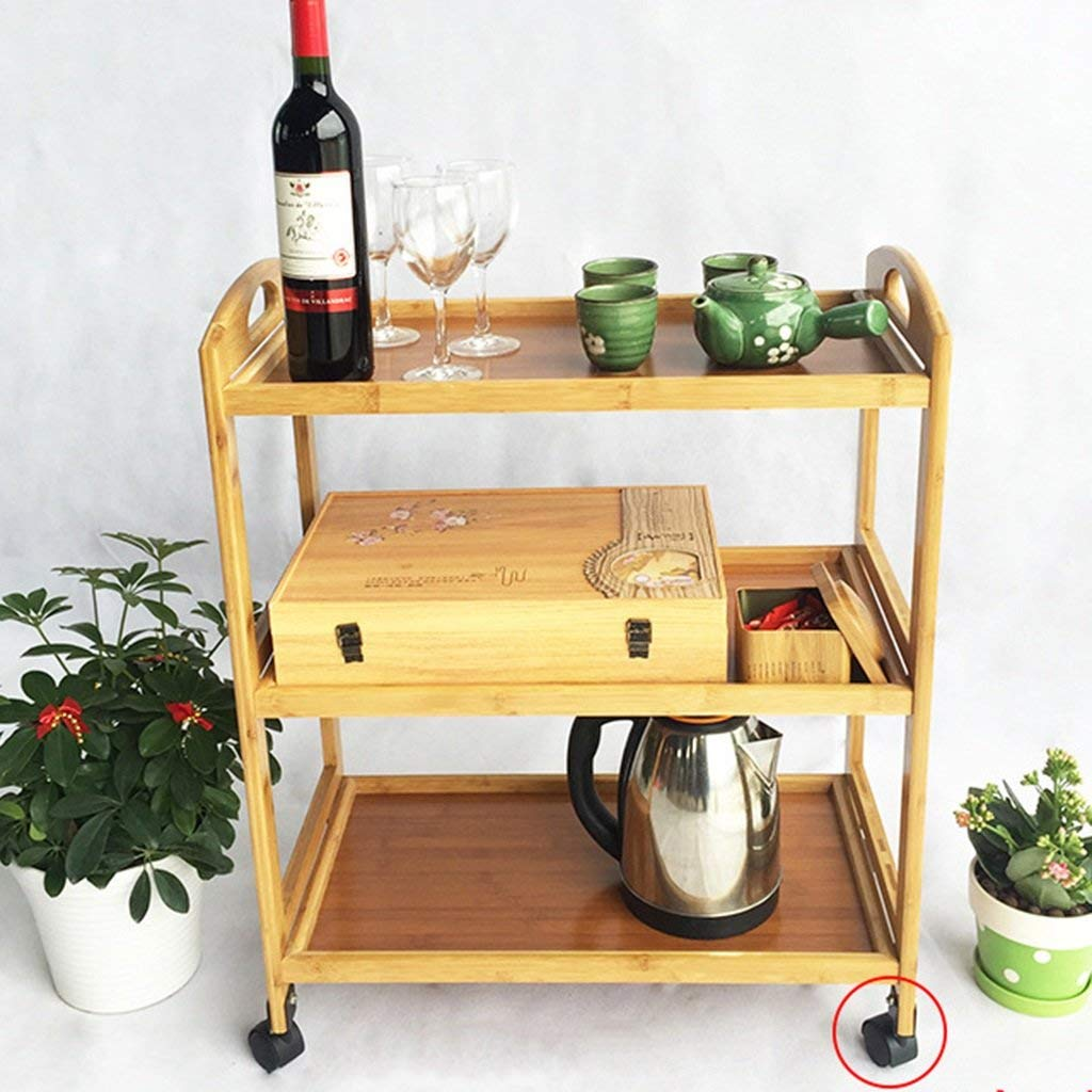 Standing Shelf Units Shelf Move Trolley Diner Dish Rack Solid Wood Bamboo Restaurant Kitchen Hand Trolley