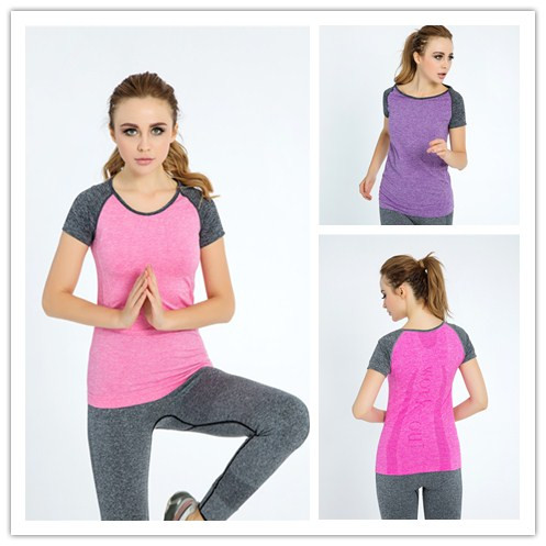 Women's Yoga Shirts Running Elastic Breathable Gym Fitness Comfortable T Shirt Ladies Dry Quick Sports Compression Undershirts