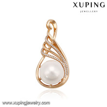 33058 Xuping magnet big pearl pendant luxury 18k gold fake jewelry pave multi stone for women