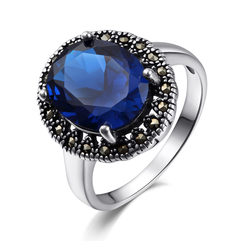 LST  Genuine 925 sterling silver  fine engagement ring  blue corundum and garnet  ring for  women  ring silver 925 rings