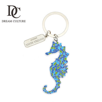 Personalized custom one piece anime metal sea horse shaped keychain