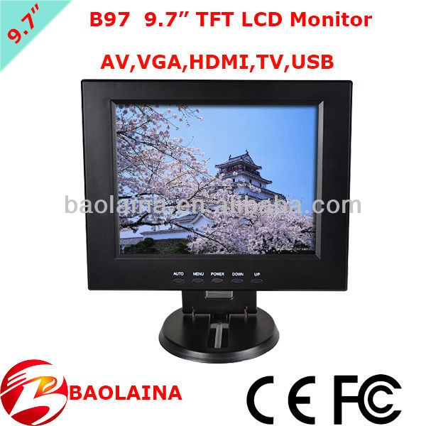9.7 inch small size LCD Monitor portable car display AV VGA and HDMI USB Mini TV
