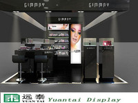 luxury shiny black mall cosmetic display kiosk,cosmetic display stand showcase