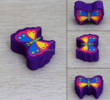 cheap custom butterfly cute animals shaped rubber pencil eraser with logo printing