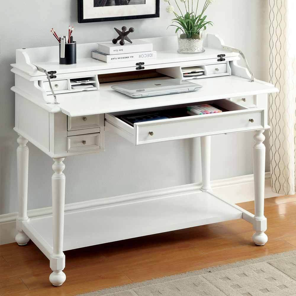Get quotations · 1perfectchoice lexden traditional secretary computer fold out writing tray desk drawers white