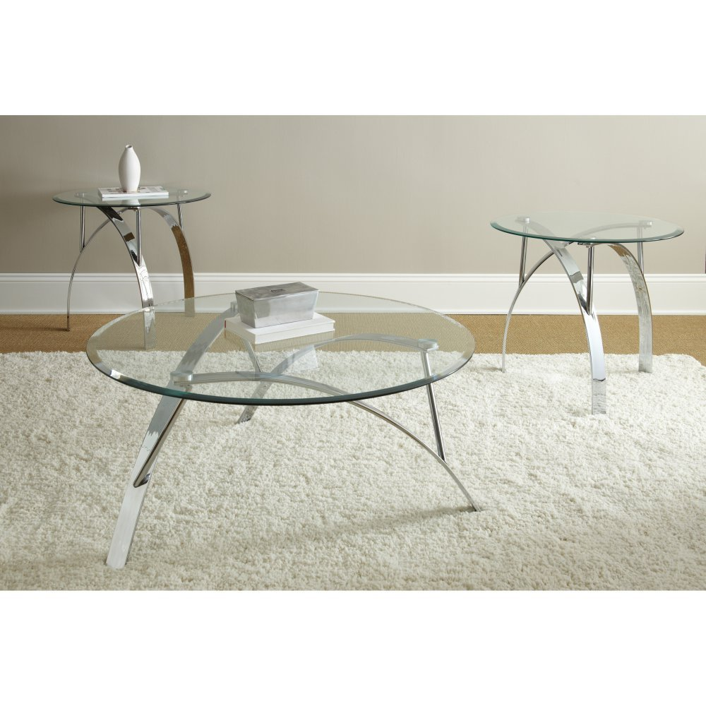 Get Quotations · Steve Silver Xavier Round Chrome And Glass Coffee Table Set