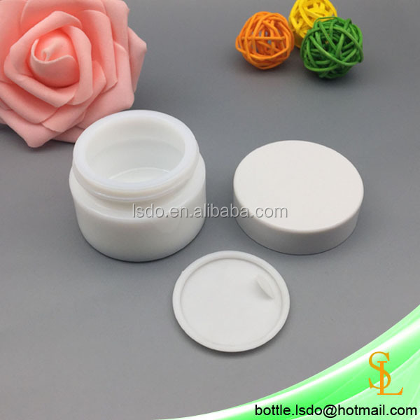 1oz cosmetic ceramic glass jar white cream jar 30g 30ml with plastic white lids