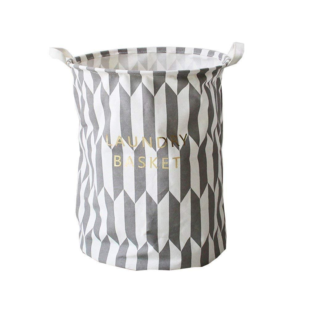 Grey ELEOPTION Foldable Laundry Baskets Bag with Handles Waterproof Laundry Basket Collapsible Clothing Storage Organizer Laundry Basket Linen Bin