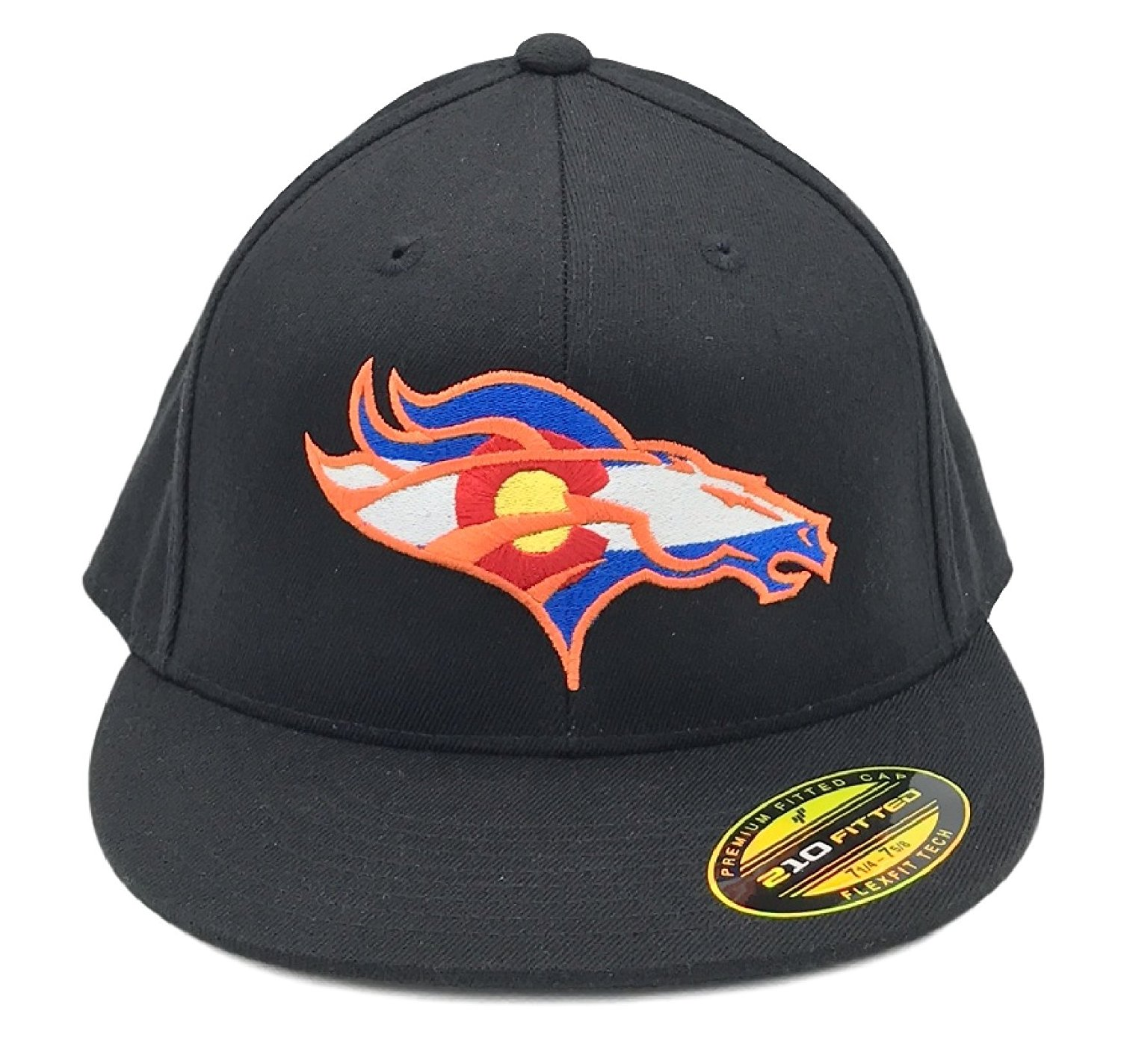 797884a83dcc8 Get Quotations · UNAMEIT Colorado Flag Bronco Hat 210 Fitted Flat Bill Flexfit  Hat