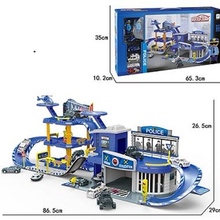 Popular Products Police Scene Toy 6 Only Mini Alloy Car Parking Shed(2men/2car/1plane/1motor)